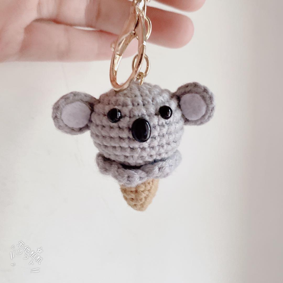 手作毛線🧶編織無尾熊🐨冰淇淋🍦鑰匙圈