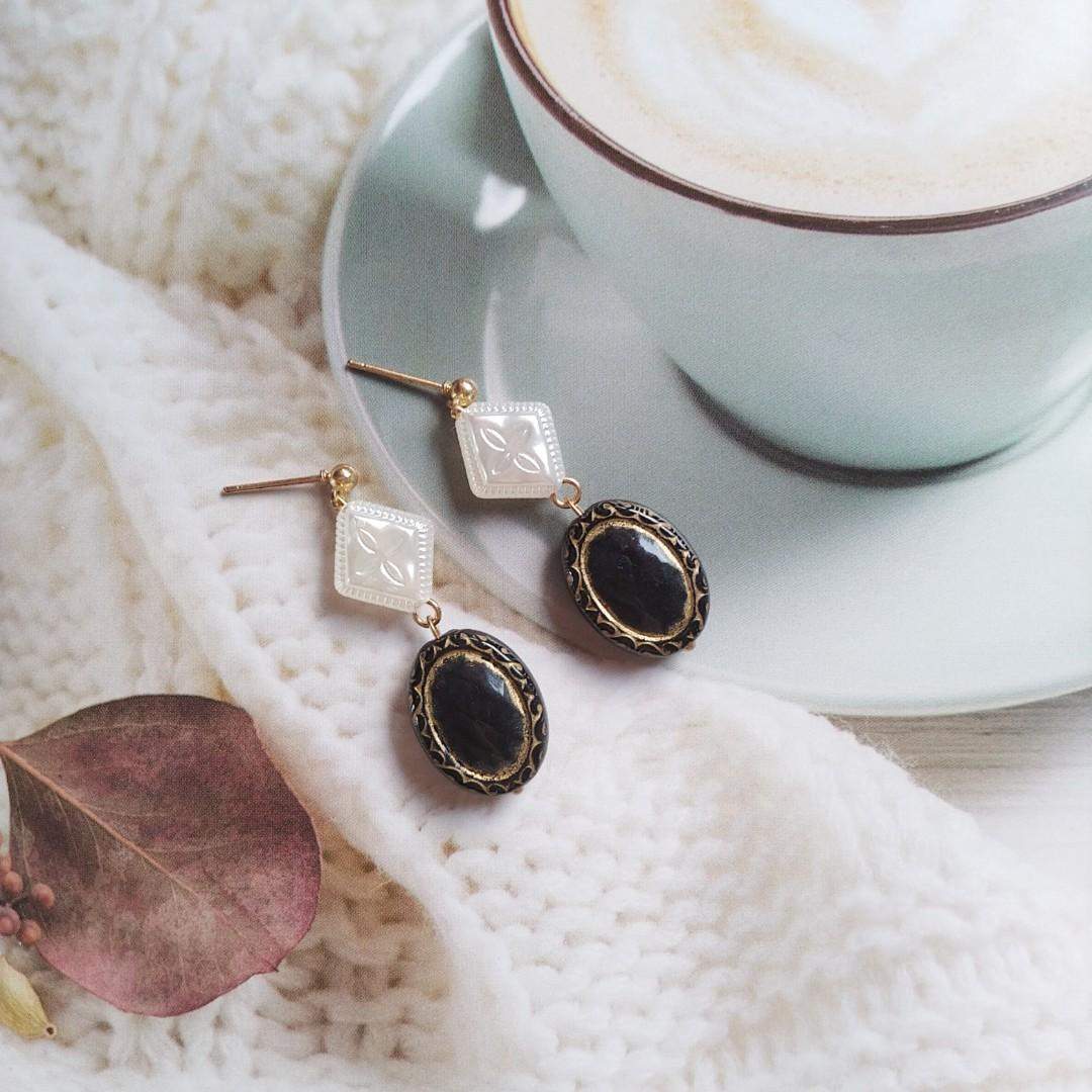 復古黑鏡珍珠耳環