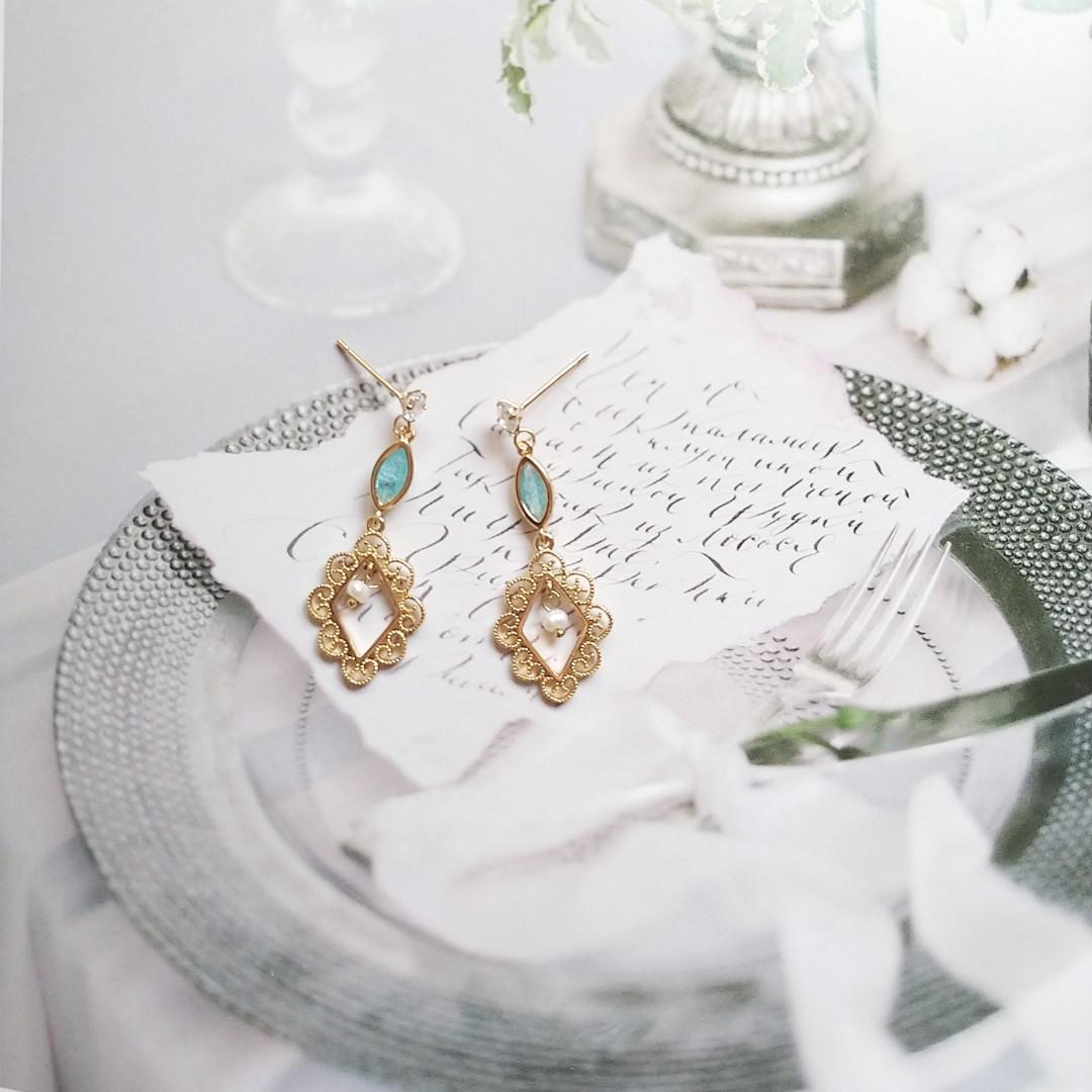 古典巴洛克蕾絲冰晶耳環