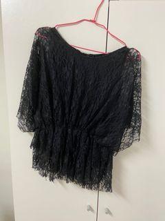 黑色蕾絲上衣 #換季