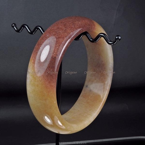 珍珠林~加寬板經典圓玉鐲~天然A貨雙彩蜜瑭璜 (內徑58mm, 手圍19號) #160