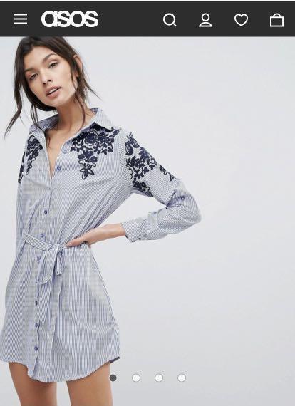 ASOS Blue & White Striped Shirt Dress