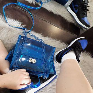 Blue clear/translucent small purse