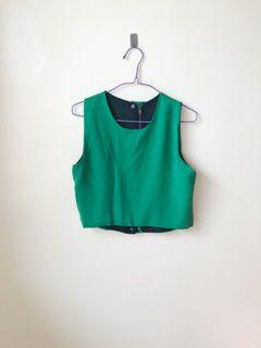 Green crop top with back detail