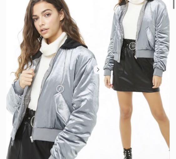 Grey Velvet Bomber Jacket