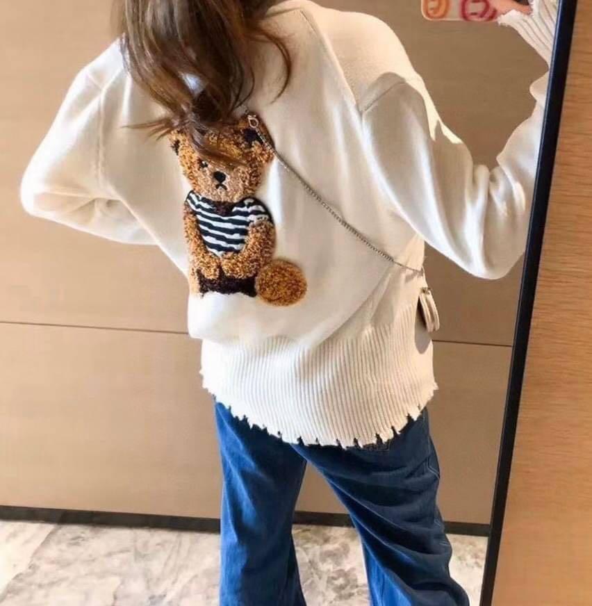KB-0928-022 ❤️ 韓國代購—韓國設計款立體植絨泰迪熊愛心扣復古碎邊針織外套