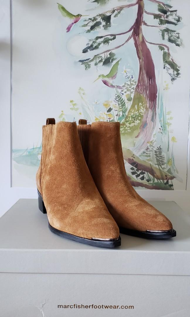 Marc Fisher Brown Suede Pointed Booties - Size: 7W