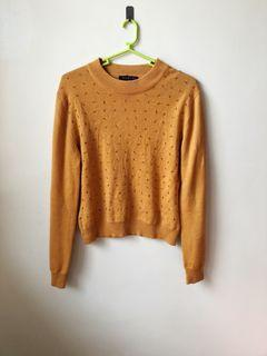 Mustard Sweater with bead detail