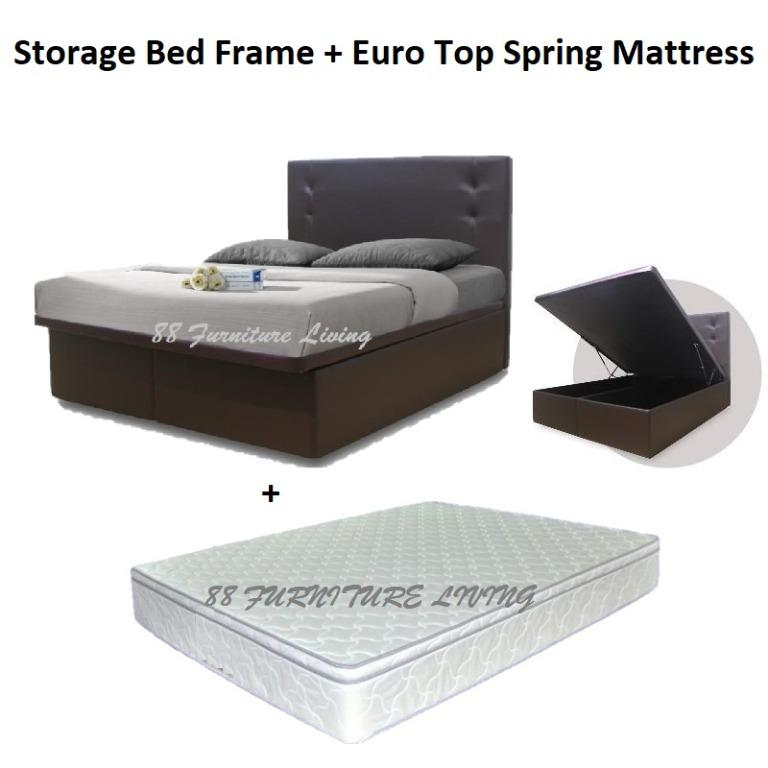 Queen Size Storage Bed Frame With Euro, European Queen Bed Frame