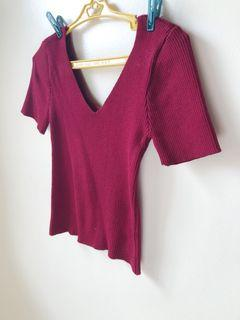 Red crop top with sleeves
