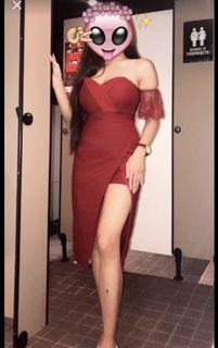 Red High Slit Dress with shorts inside