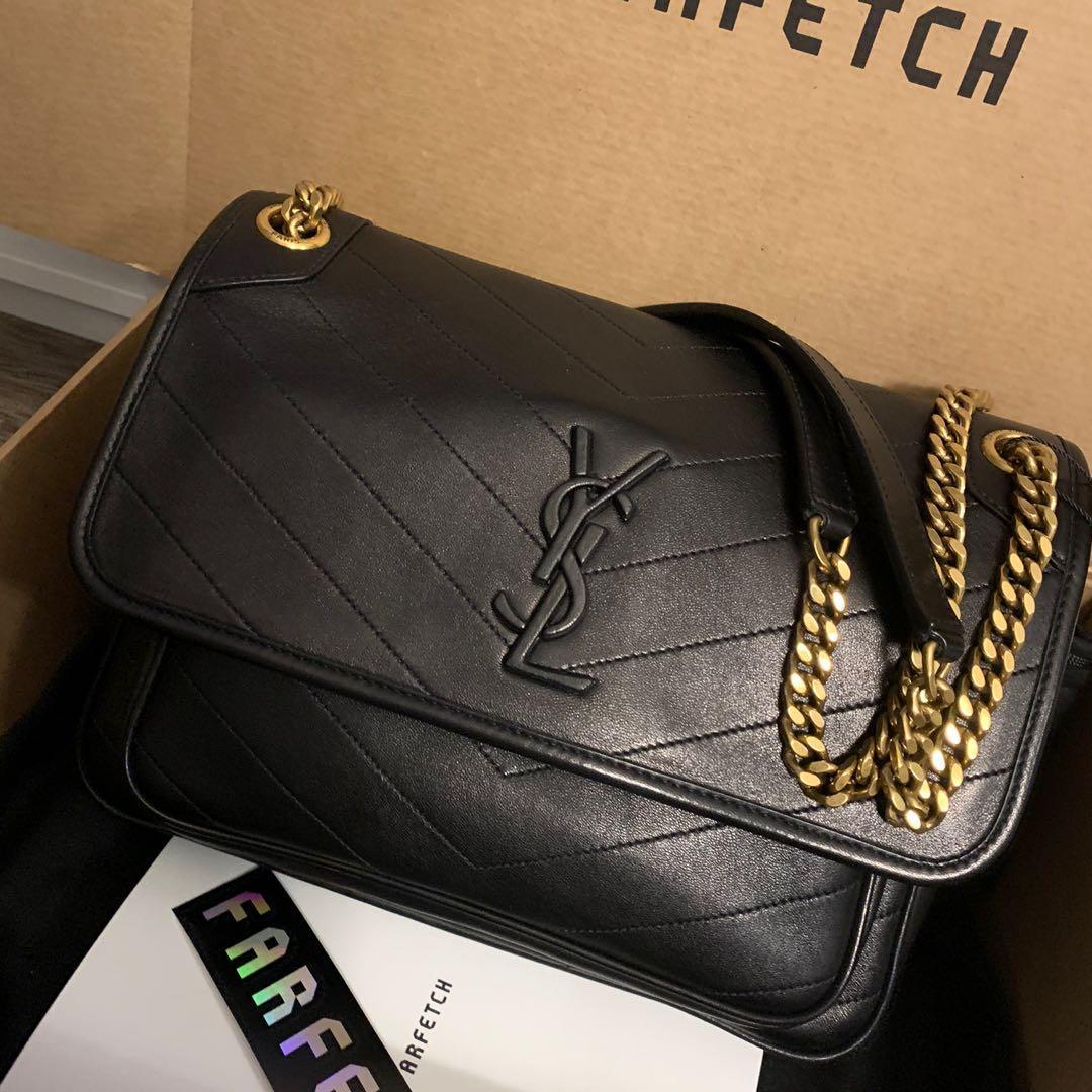 Saint Laurent niki bag medium lamb leather black