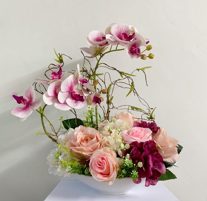 Afs3 Silk Flowers Roses Orchid Artificial Flowers Arrangement Vase Flowers Gardening Flowers Bouquets On Carousell