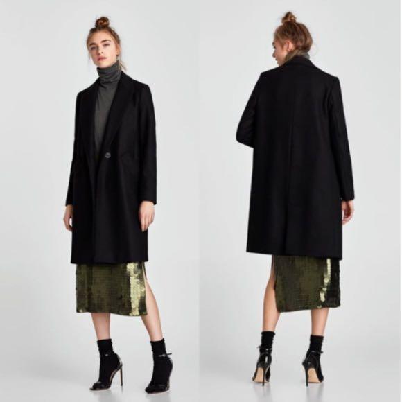 Zara wool black coat