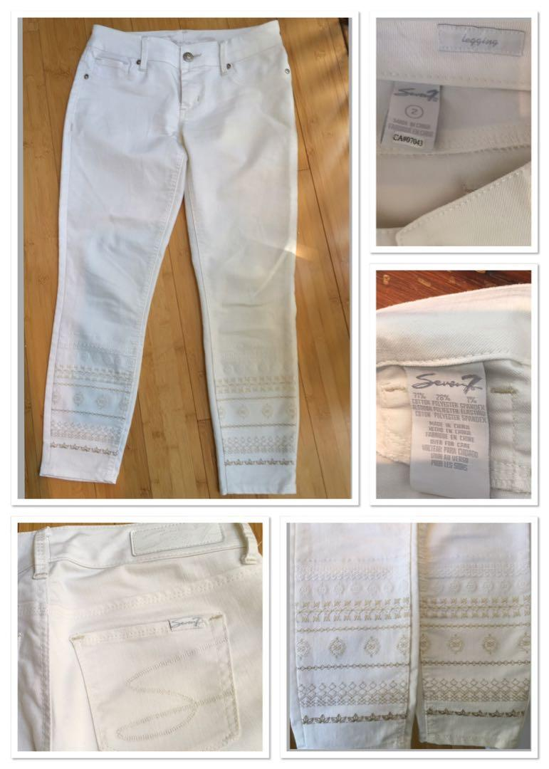 Brand new SEVEN white skinny jeans with embroidered legs