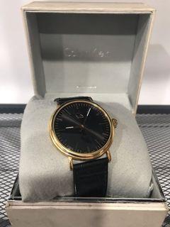 Calvin Klein K3W216C1 玫瑰金 黑底 皮革錶帶