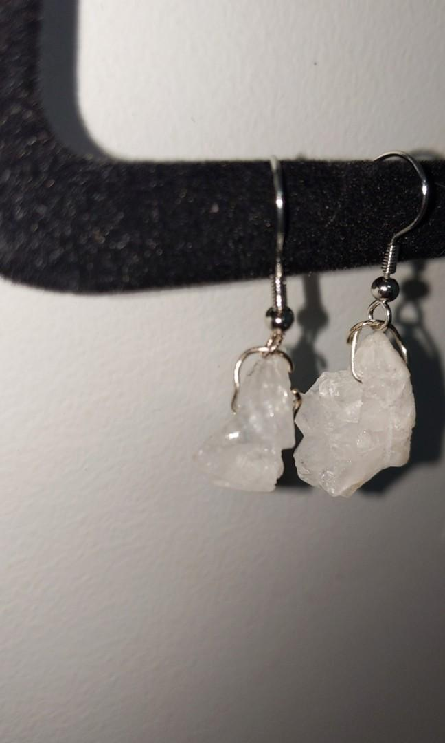 Clear quartz crystal earrings HAND MADE
