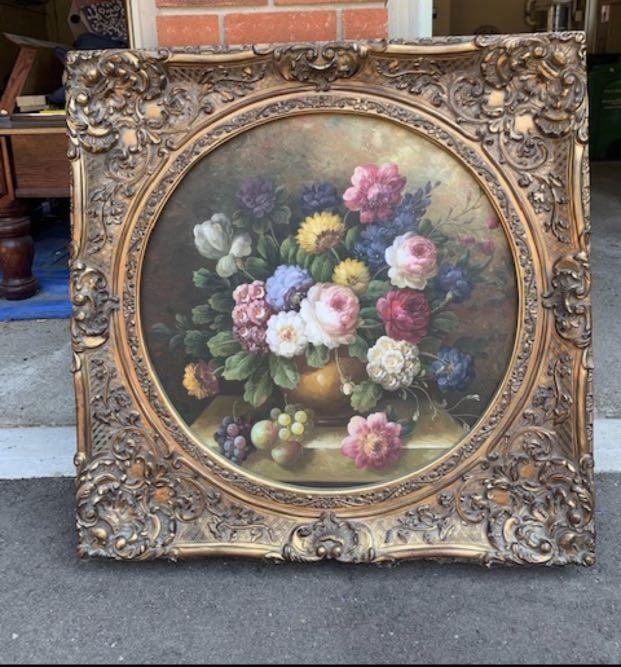 Floral Painting with Intricate Frame