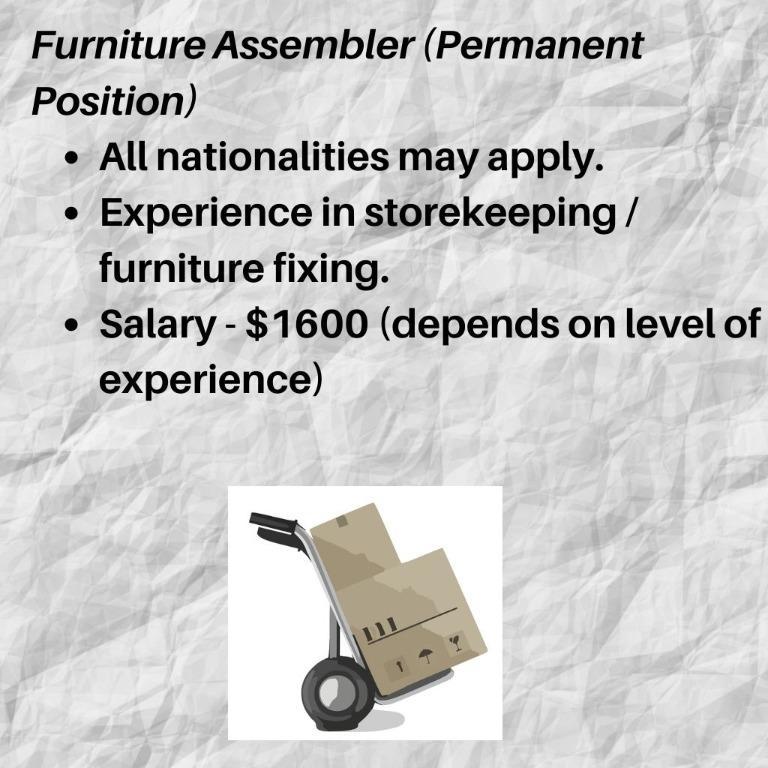 Furniture Assembler cum Storekeeper for Furniture Company