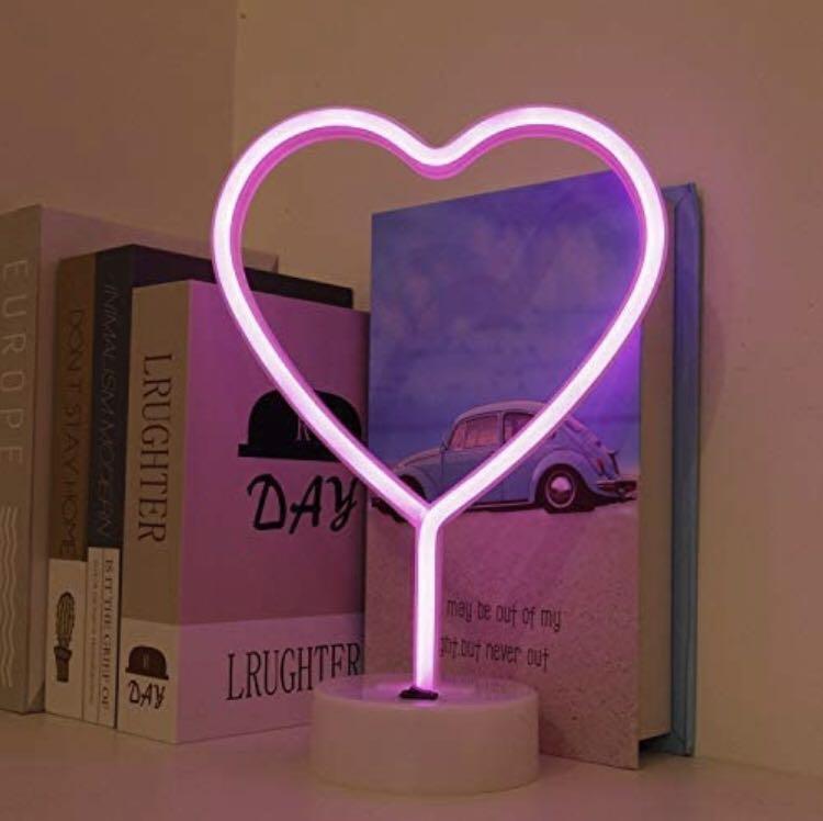 Heart Shapes LED Neon Table Lamp