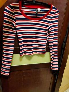 H&M 彩虹🌈緊身短版長袖條紋大圓領上衣