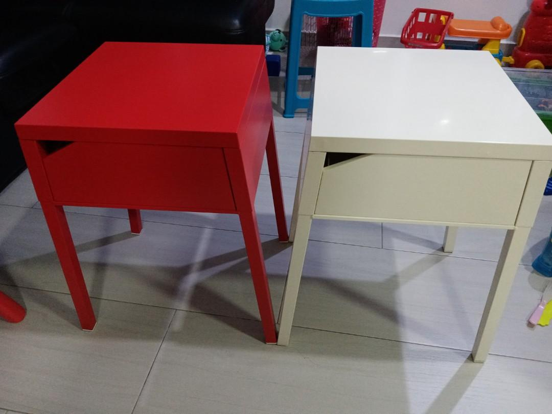Picture of: Ikea Bedside Table White Metal Furniture Tables Chairs On Carousell