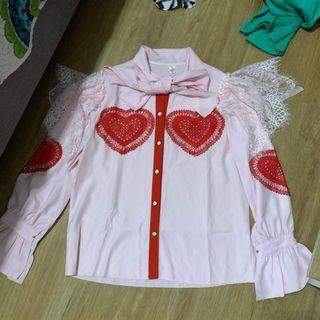 Lace Heart Ruffles Sleeves Top