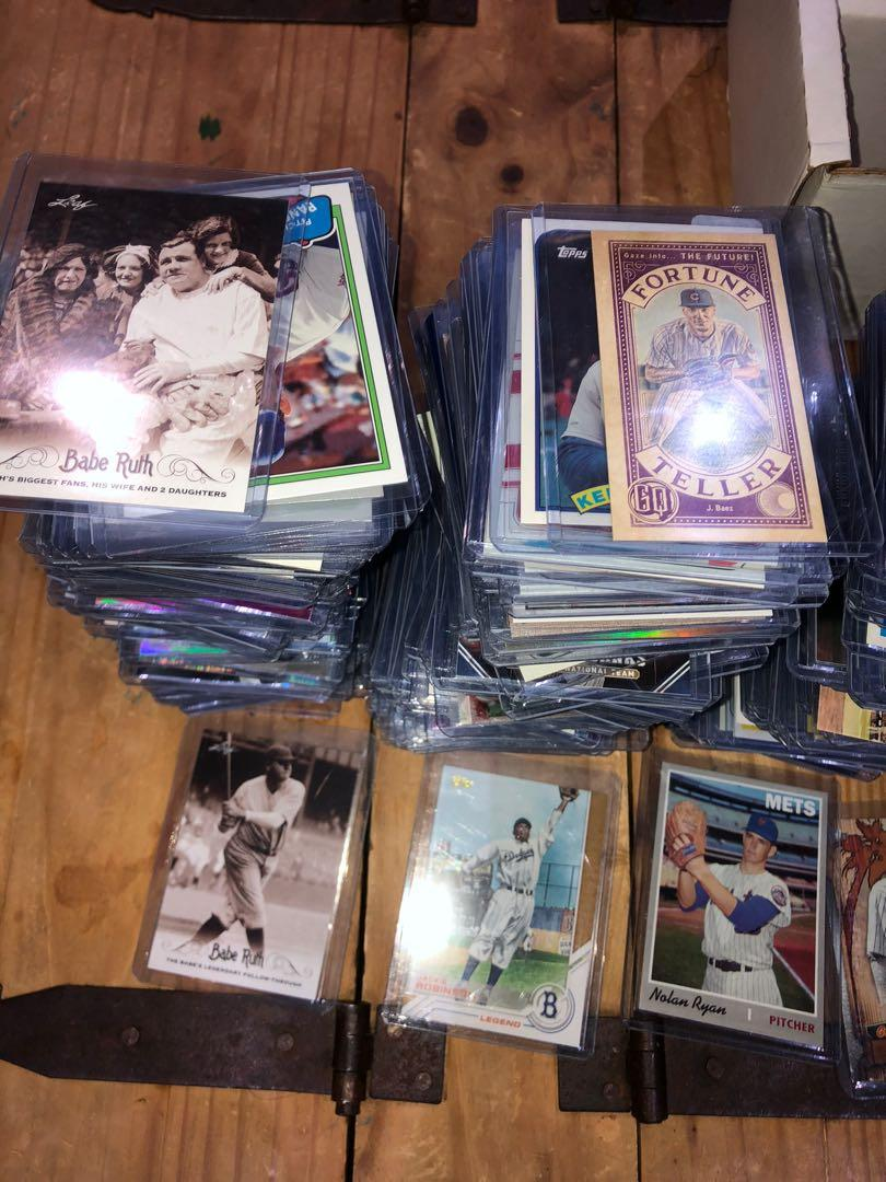 Old and new baseball cards all mixed up