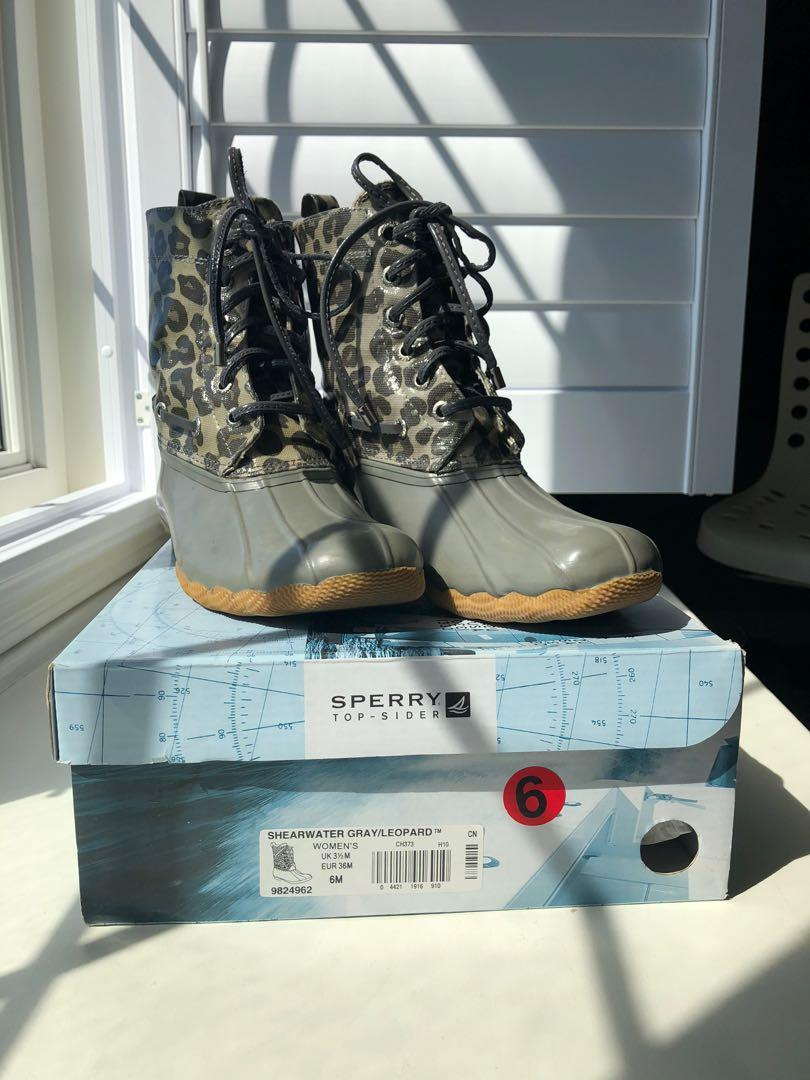 Sperry Shearwater Gray/Leopard Boots
