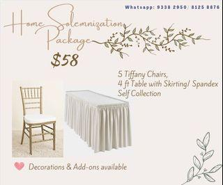 Tiffany chairs and table Home solomization rental package