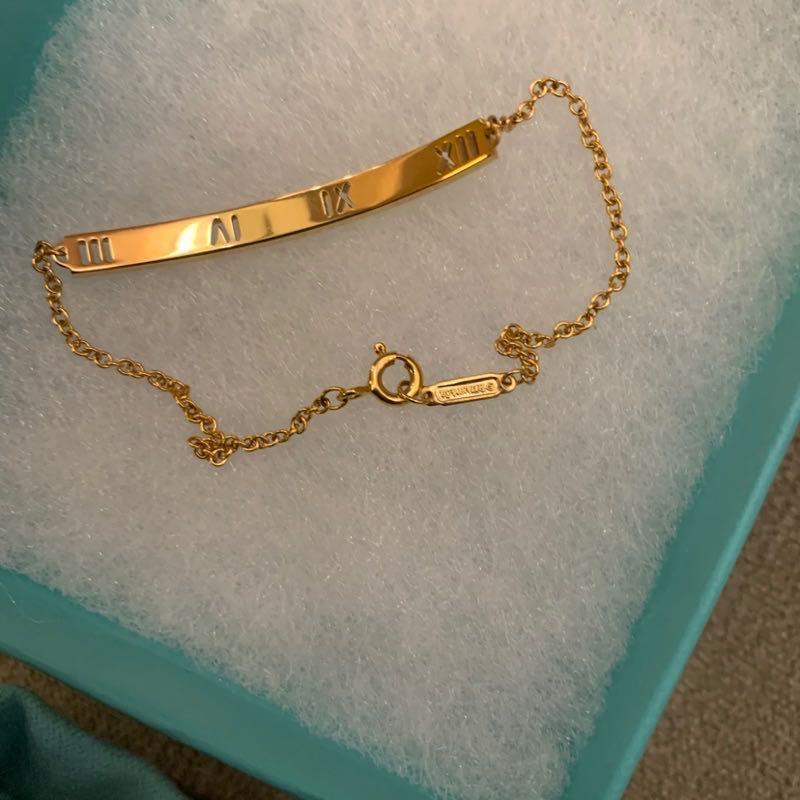 TIFFANY&Co. ATLAS 18K玫瑰金鏤空羅馬數字鑽石鑲崁手鍊