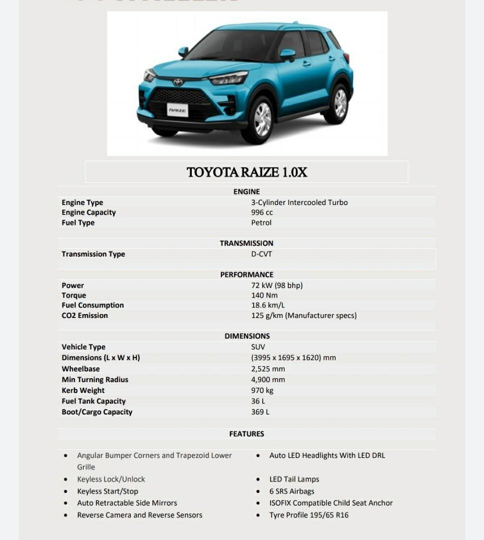 Toyota Raize 1.0 X