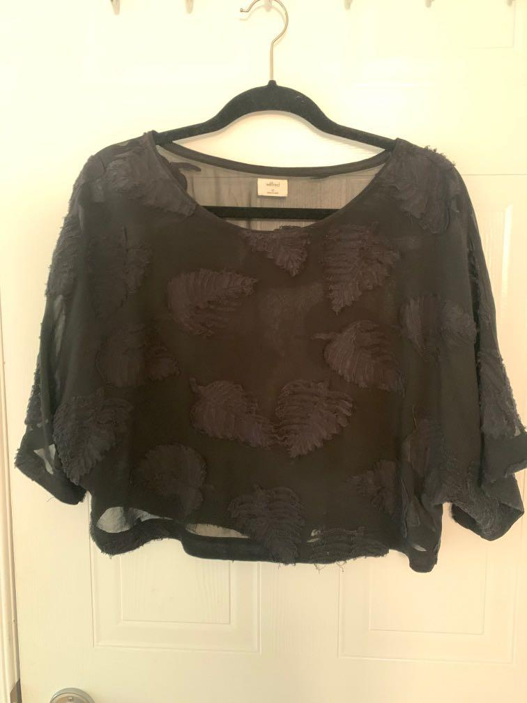 Wilfred sheer black blouse - size XS