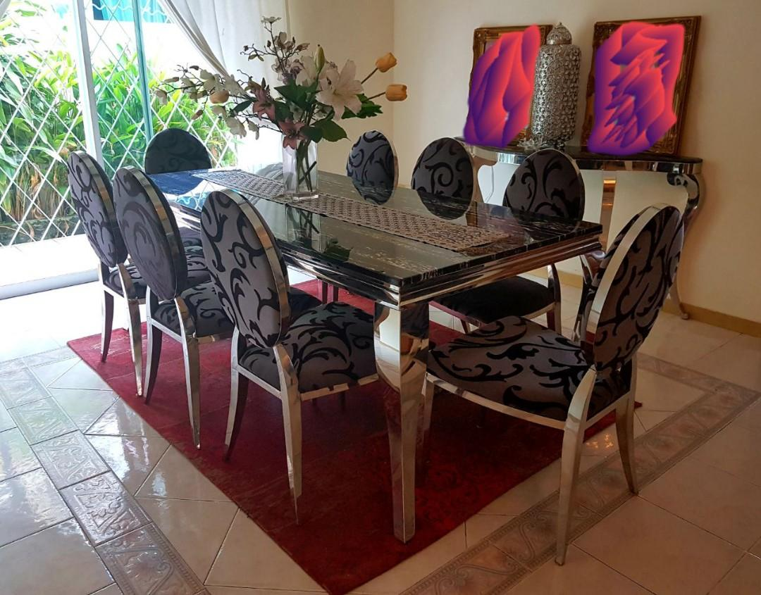 8 Seater Black Marble Dining Table Set Furniture Tables Chairs On Carousell