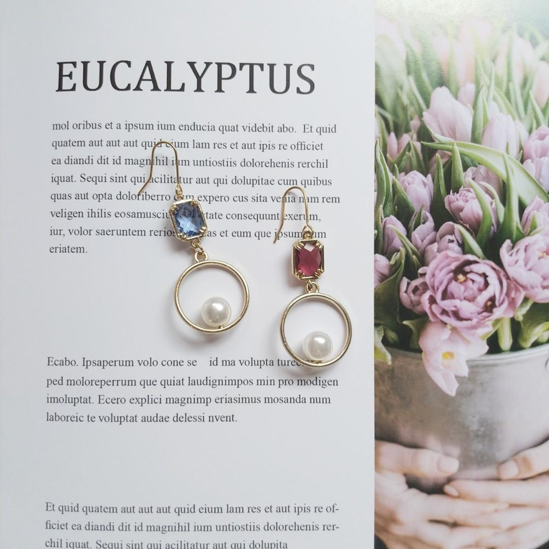 寶石珍珠圈圈耳環