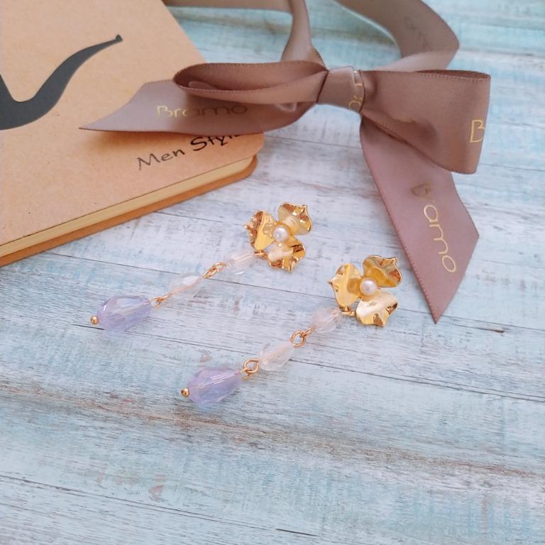 珍珠花兒水晶耳環