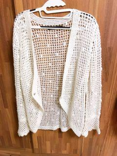 白色長版毛織外套 F size
