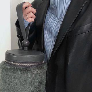 小ck 灰色 手提 兩用  簡約 小廢包 水桶包  9.8成新