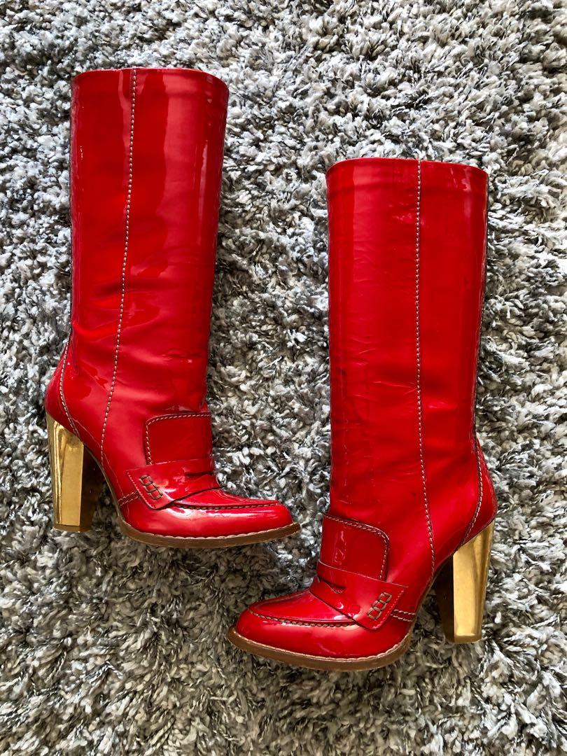 Dolce Gabbana Red Patent Leather Boots