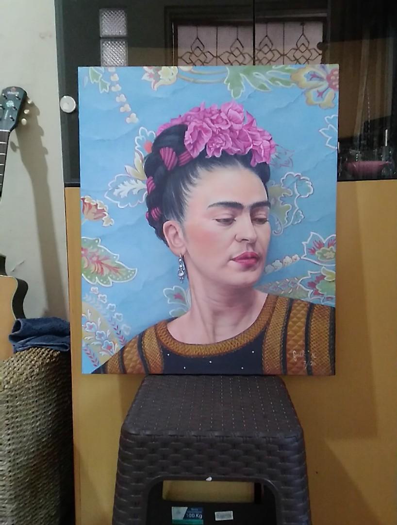 Lukisan potrait 'Frida Kahlo 2020.