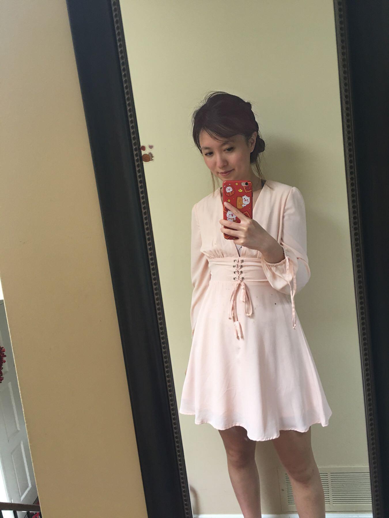New Guess pink corset dress xs