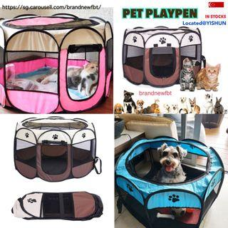 Playpen foldable for pets fence collapsible mesh cat dog rabbit pets free bag
