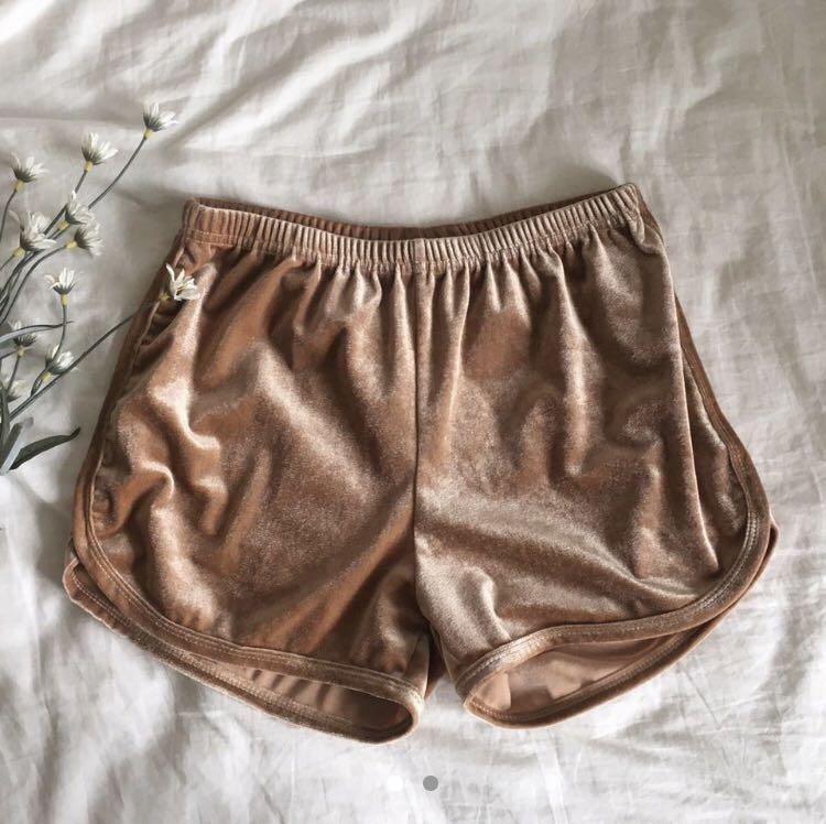 Rose Gold Velvet Shorts
