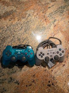 Sony Playstation 2 Aqua Blue and Grey Controllers