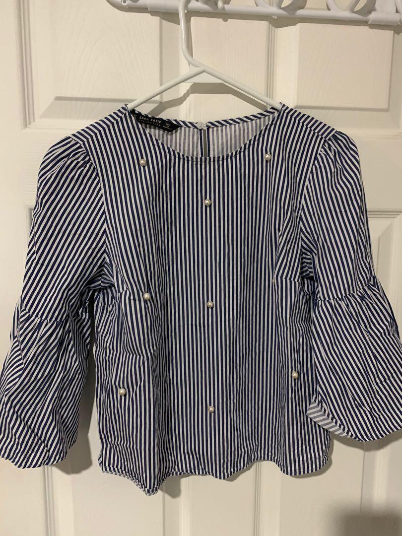 Zara striped blouse size xs