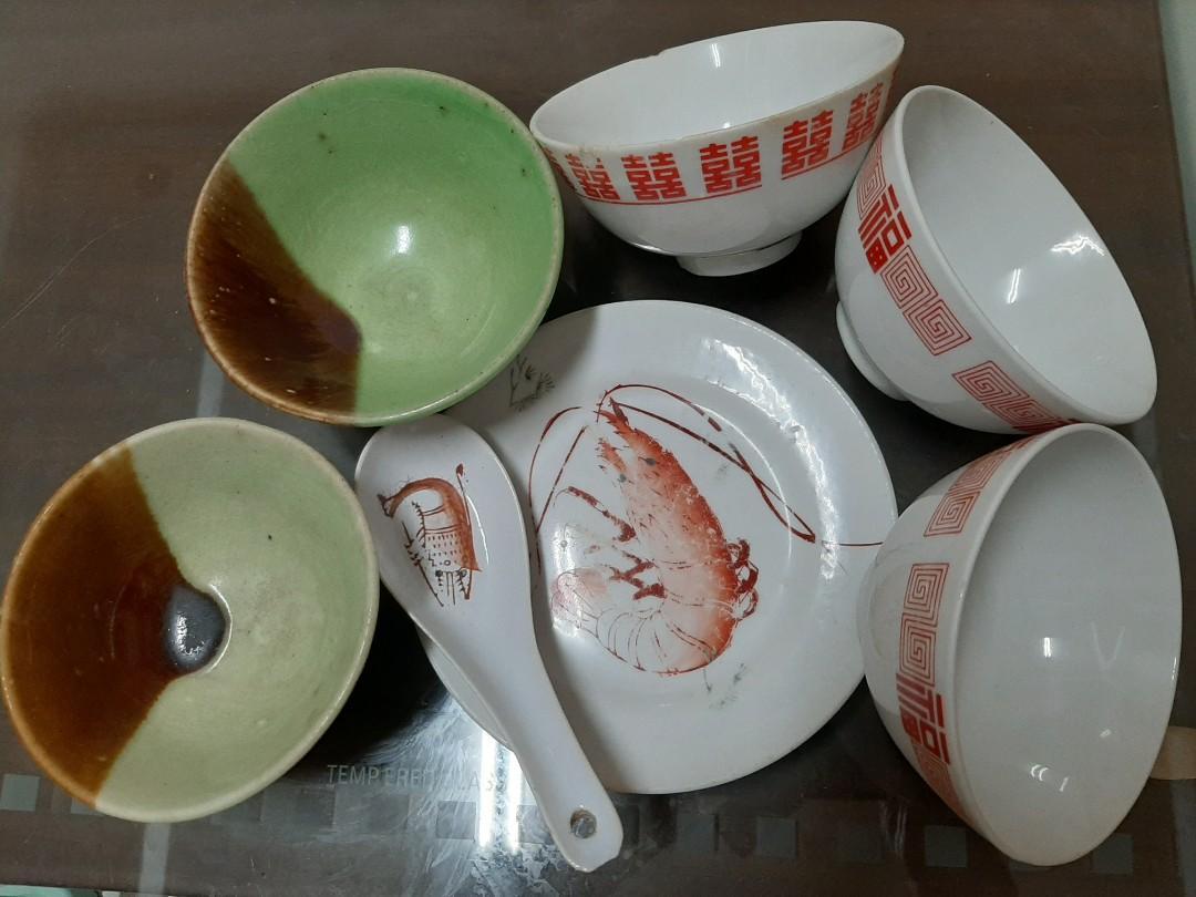 喜字福字陶瓷碗蝦圖碗盤蝦圖湯匙