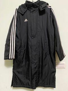 adidas Bench Coat 3 stripes外套 長版 刷毛 穿搭 大衣 保暖 免運