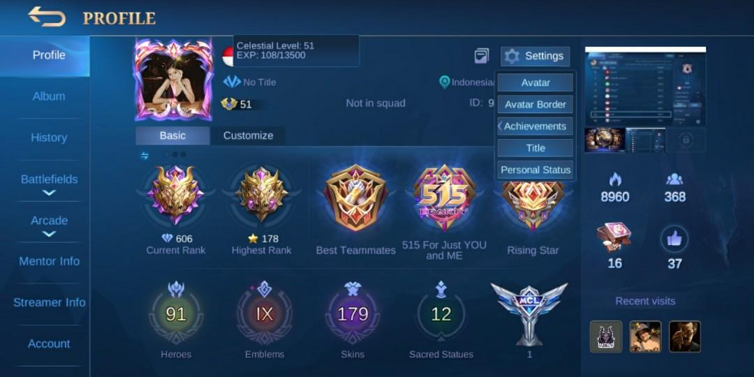 AKUN Mobile Legends | 1 Legend + 5 KOF + 7 Limited Epic + 2 Zodiack