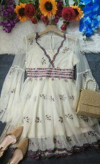 Bell Sleeved Sequined Bohemian Dress
