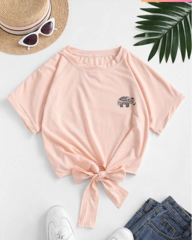 BNWT Elephant Graphic Tie Hem Cropped Tee - Deep Peach